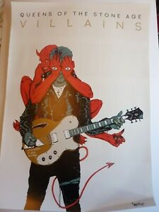 QUEENS OF THE STONE AGE  VILLAINS ORIGINAL  PROMOTIONAL POSTER NEW UNUSED
