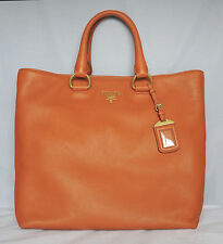 NWT! PRADA Orange VITELLO DAINO Leather Shopping Tote Bag BN2865 LARGE