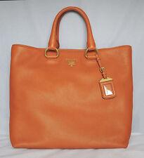 NWT! PRADA Orange VITELLO DAINO Leather Shopping Tote Bag BN2865 LARGE