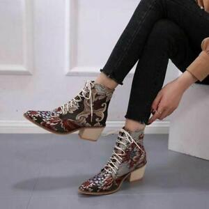 Women's Ankle Chunky Boots Embroidered Lace Up Pointed Toe Block Low Heels Shoes