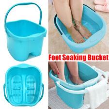 Foot Soaking Bucket Basin Tub Spa Bath Detox Soak  Scrub Both Feet ABS Blue
