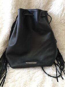 Victoria's Secret Black Backpack Faux Leather Fringe Drawstring Purse Bag Tote