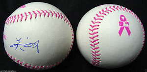 GUAN TIANLANG SIGNED PINK MOTHERS DAY BREAST CANCER BASEBALL 2013 MASTERS COA K2
