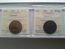 New Brunswick 1861 1 Cent 1861 and 1864 coins ICCS Graded3