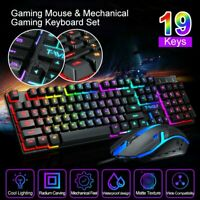 Computer Desktop Gaming Keyboard and Mouse Combo Ergonomic LED Light Backlit RGB