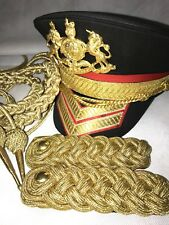 4pcsMilitary Royal Gold Hussar Officers Accessories Aiguillette &Cap,Epaulettes