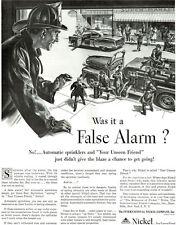 False Alarm Fire Fighter Fighting PHIL RONFOR International Nickel 1952 Print Ad