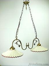 Lampadario ottone brunito liberty,sospensione due luci piatti ceramica l22010