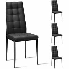 Set of 4 Kitchen Dining Side Chairs Fabric Cushion with Metal Frame High Back