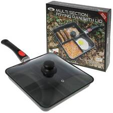 NGT 3 WAY MULTI SECTION FRYING PAN CARP FISHING CAMPING WITH GLASS LID + HANDLE