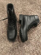 GH BASS Womens Black Leather Round Toe Ankle Boots Sz 6 Army Style EUC TIE UP