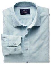 """BNWT NEW Charles Tyrwhitt Men's Blue & Green Spot Dobby SLIM Shirt XS Chest 36"""""""
