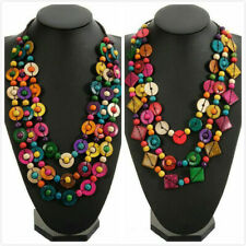 Wood Bohemia Colourful Multilayer Long Necklace Beads Ball