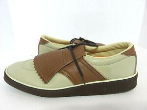 NOS Vintage Knapp Men's Leather Dress Shoes Brown/Biege Size 10D golf shoe