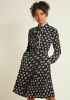 ModCloth Pleated Shirt Dress Tie Neck Black White Floral Dot Print