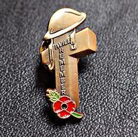 2021 Golden Remembrance Soldier Veteran Helmet  Red FLOWER Pin Badge