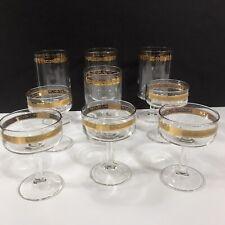 Set of 9 Vintage Mid Century Gold Rim Optic Band Champagne Wine Glasses Stemware