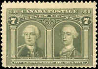 1908 Mint NH Canada F Scott #100 7c Quebec Tercentenary Issue Stamp