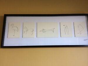 IKEA OLUNDA Framed Series Of Picasso Animal Prints/Drawings 104 X 40cm