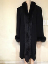 Marvin Richards Women's Winter Black fox fur tuxedo 100% Lambswool coat size 16