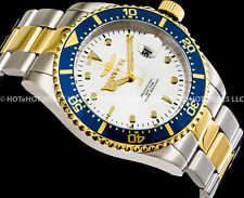 Invicta Men Pro Diver Blue Coin Edge Bezel Gold 'N Silver SS 200M Bracelet Watch