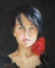 ORIGINAL OIL PAINTING OF LOVELY YOUNG WOMAN BY WELL KNOWN ARTIST ROMAN FRANCES