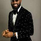 Luxury Beads Mens Wedding Tuxedo Groom Velvet Party Prom Slim Fit Custom Blazer