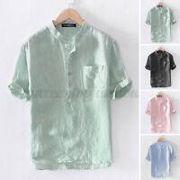 Mens Short Sleeve Linen Cotton Shirt Collarless Henley Casual Beach Tops Blouse