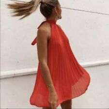 ZARA Red Longline Top High Neck Pleated Sleeveless Shirt Blouse With Bow M