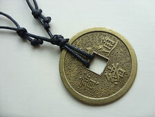 A Large Chinese Feng Shui Wealth Lucky Coin Charm Pendant Necklace Tribal Surf