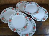 Set of 6 Dinner Plates Christmas Poinsettia Gold Trim TRISA China 1693