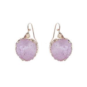 Pink Druzy Dangle Drop Gold Tone Earrings