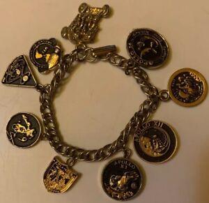 """Apollo Space Mission Commemorative Vintage 9 Charms Dangle Charm Bracelet 7"""""""