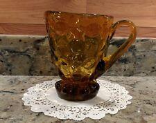 ANTIQUE HAND BLOWN AMBER COIN DOT ART GLASS PITCHER