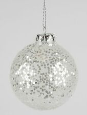 Silver Sequin Bauble Christmas Decoration by Sass & Belle