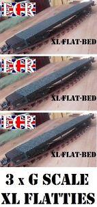 3 (Three) G SCALE 45mm GAUGE XL LONG FLATBED 57cm TO BUILD ONTO RAILWAY TRAIN