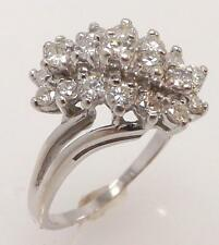 14K WHITE GOLD 2 CTTW GENUINE ROUND DIAMOND WATERFALL CLUSTER RING SIZE 7.25