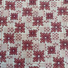 Vintage 30's 40's Feedsack Fabric Floral Framed Daisies Dot & Line Grid MINT!