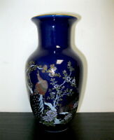 Vintage Small Cobalt Blue made in Japan Painted Peacocks Floral Vase