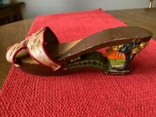Vintage Hand Carved Painted Woman's Single Wooden Shoe