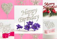 Diamante Rhinestone Cake Toppers Wedding Anniversary Birthday Special Occasion
