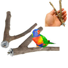 Pet Parrot Raw Wood Fork Stand Rack Platform Toy Branch Perches Bird Cage Gift