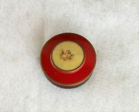 vtg Tin with courting couple Darning Cotton or Silk Sewing Thread holder 1942