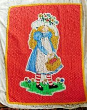 VINTAGE BRIGHTLY COLORED HOLLY HOBBY QUILT OR WALL HANGING 43 BY 32 INCHES