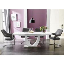 Essgruppe Ulm weiß Hochglanz mit 4x Stuhl Beate Antiklederlook grau Tischgruppe