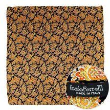 """ITALO FERRETTI Orange Silk 19"""" Hand-Rolled Pocket Square Ascot Handkerchief"""