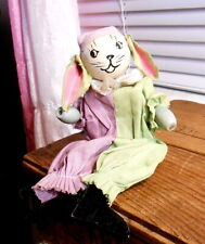 Vintage Old Wooden Easter Bunny Rabbit Toy