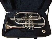 SUMMER SALE!!! NEW Bb CORNET CHROME PLATED  FREE HARD CASE+MOUTHIPIECE+FAST SHIP