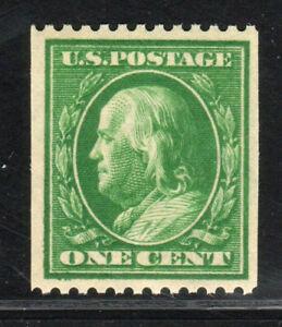 "1910 US 385 1c Green Franklin Perf 12 Horizontal WMK 190 Single Line ""S"" MNH XF+"