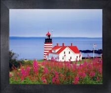West Quoddy Head Lighthouse Ocean Seascape Scenery Wall Art Decor Framed Picture